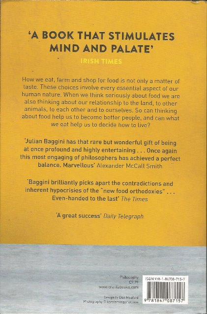Back cover of The Virtues of the Table by Julian Baggini