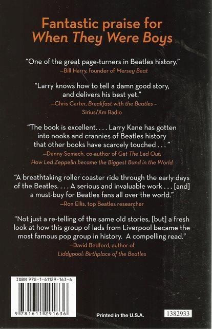 Back cover of When They Were Boys by Larry Kane