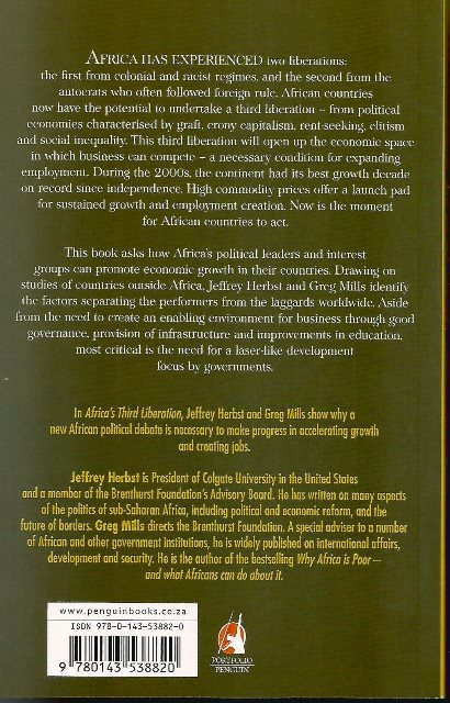 Back cover of Africa's Third Liberation by Greg Mills and Jeffrey Herbst