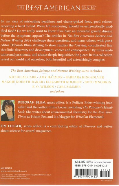 Back cover of The Best American Science and Nature Writing 2014 edited by Deborah Blum