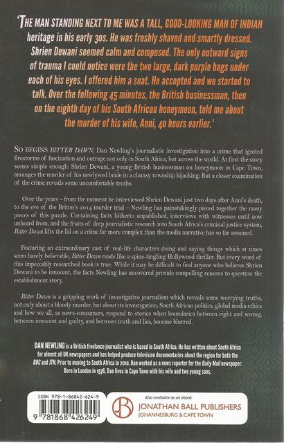 Back cover of Bitter Dawn by Dan Newling