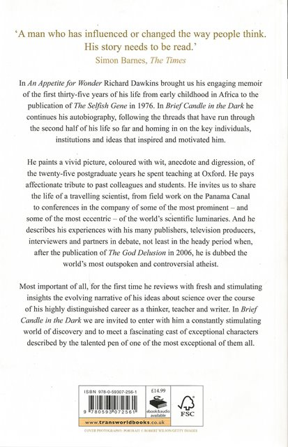 Back cover of Brief Candle in the Dark by Richard Dawkins