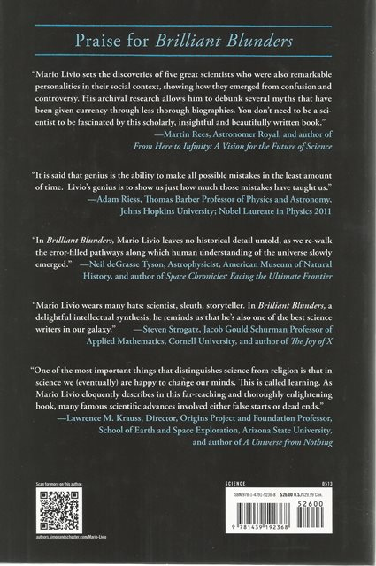 Back cover of Brilliant Blunders by Mario Livio