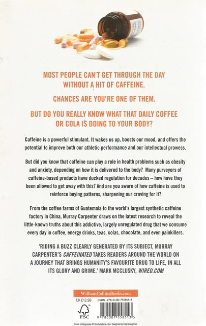 Back cover of Caffeinated by Murray Carpenter