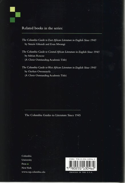 Back cover of The Columbia Guide to South African Literature in English Since 1945 by Gareth Cornwell, Dirk Clopper & Craig MacKenzie
