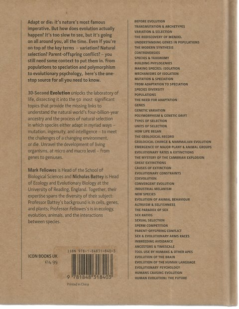 Back Cover of 30 Second Evolution edited by Mark Fellowes and Nicholas Battey
