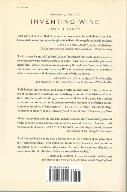 Back cover of Inventing Wine by Paul Lukacs