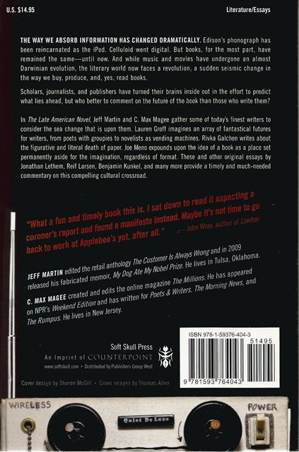 Back cover of The Late American Novel by Jeff Martin & C Max Magee