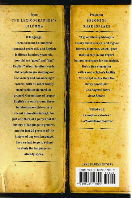 Back cover of The Lexicographers Dilemma by Jack Lynch