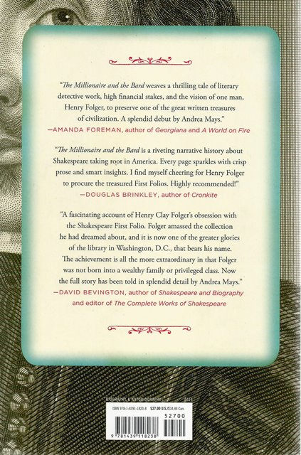 Back cover of The Millionaire and the Bard by Andrea Mays