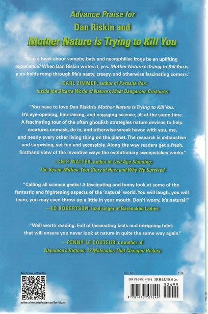 Back cover of Mother Nature is Trying to Kill You by Dan Riskin