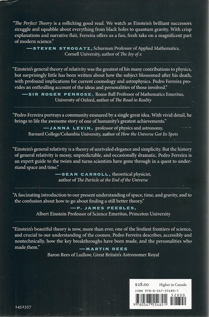 Back cover of The Perfect Theory by Pedro G Ferreira