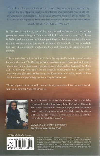 Back cover of The Rise by Sarah Lewis