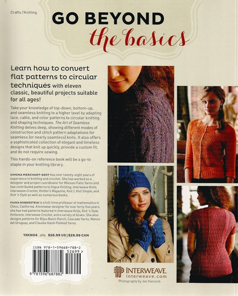 Back cover of The Art of Seamless Knitting by Merchant-Dest and  Goberstein