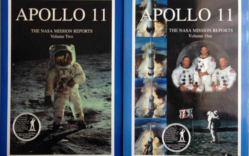 Front Covers of Apollo 11, the NASA Mission Reports edited by Robert Godwin