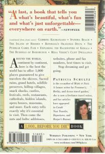 Back Cover of 1,000 Places to See Before You Die by Patricia Schultz