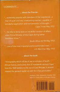 Back cover of The First Son of South Africa to be Premier by Basil T. Hone