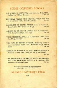 Back Cover of The Unification of South Africa: 1902-1910 by L. M. Thompson