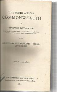 Back Cover of The South African Commonwealth by Manfred Nathan
