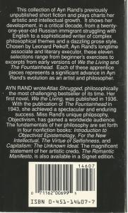 Back Cover of The Early Ayn Rand by Ayn Rand edited by Leonard Peikoff