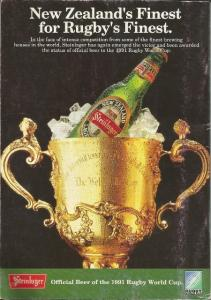 Back cover of 1991 World Cup Rugby programme: England vs New Zealand