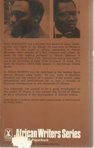 Back Cover of Messages: Poems from Ghana edited by Kofi Awoonor and G Adali-Mortty