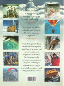 Back Cover of Quest for Adventure by Chris Bonnington
