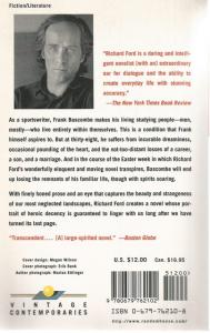 Back Cover of The Sportswriter by Richard Ford