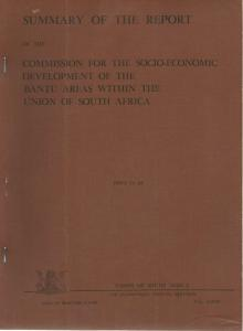 Front cover of Socio-Economic Development of the Bantu Areas