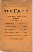 Front Cover of The Critic Vol.II - No. 1 edited by H. A. Reyburn