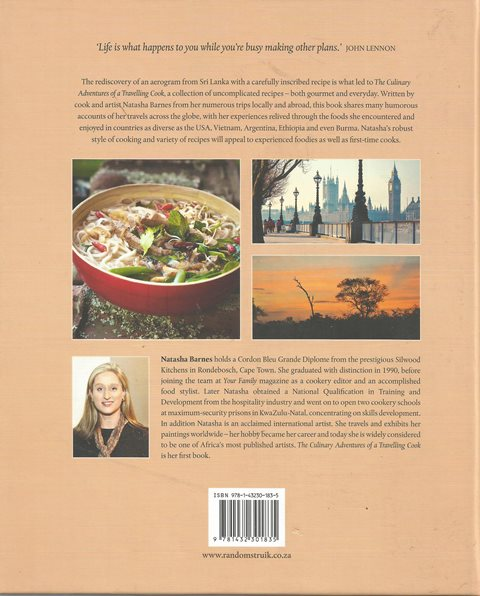 Back cover of The Culinary Adventures Of A Travelling Cook by Natasha Barnes