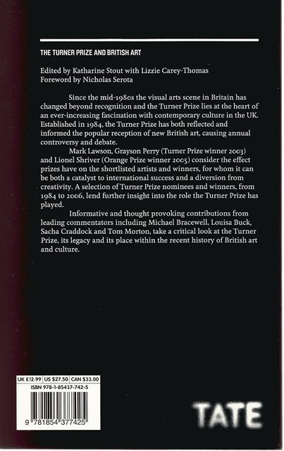 Back cover of The Turner Prize and British Art by Katherine Stout