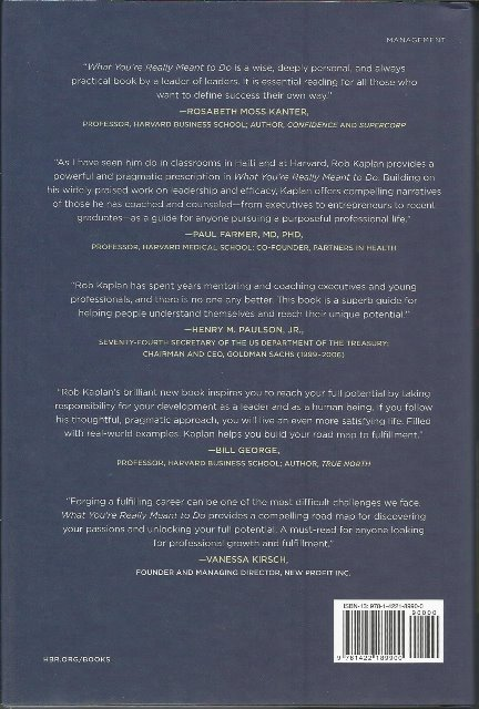 Back cover of What You're Really Meant To Do by Robert Steven Kaplan