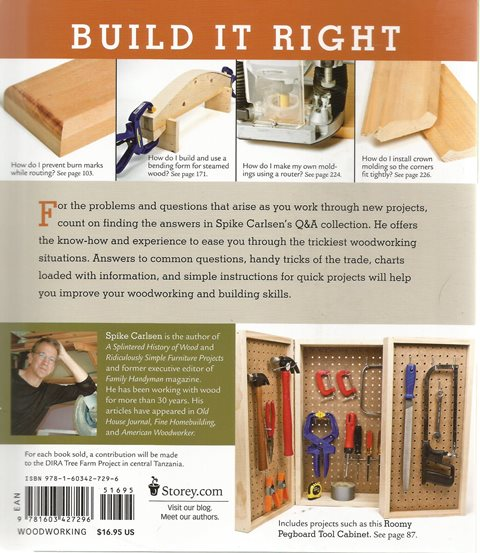 Back cover of Woodworking FAQ by Spike Carlsen