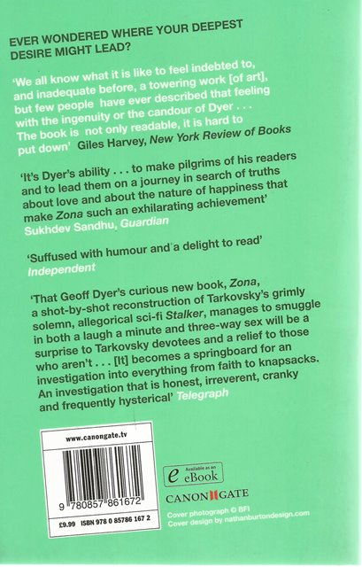 Back cover of Zona by Geoff Dyer